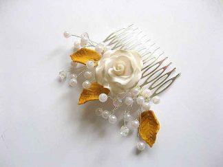 Pieptan perle sticla si pasta polimerica floare si frunze 27525