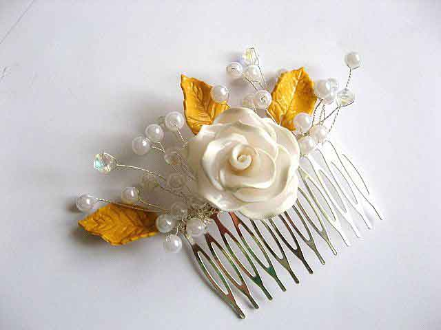 Pieptan perle sticla si pasta polimerica floare si frunze 27525 poza a 2a