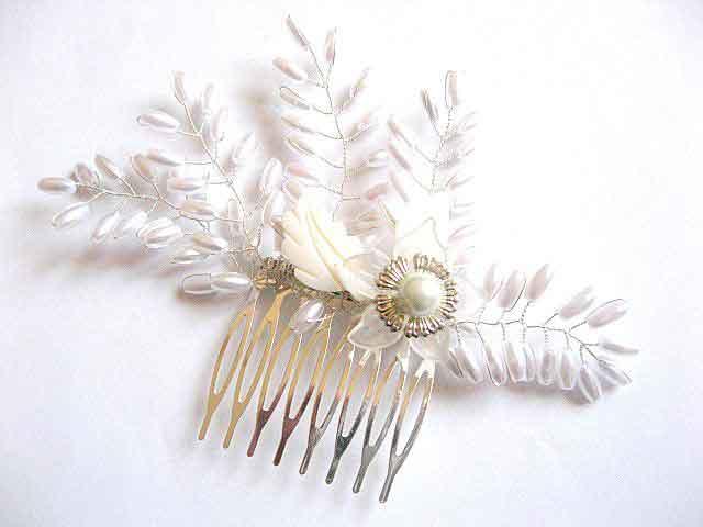Piepten mireasa, produs nunta, perle sticla si frunze sidef 27213