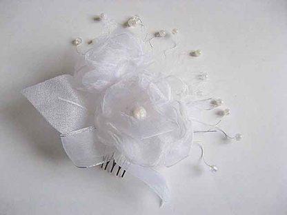 Pieptene nunta organza si perle artificiale cod model 23249