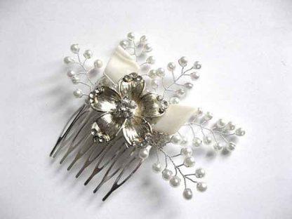 Pieptene sidef, perle sticla, pieptene mireasa, cod model 25442