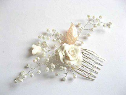 Produs nunta frunza fluture sidef, floare fimo si perle sticla pieptan mirese