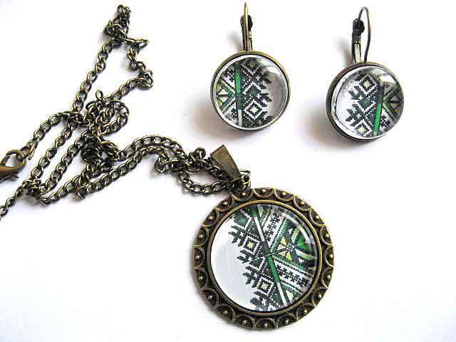 Set bijuterie femei model traditional romanesc, cercei, colier, pandantiv 28696