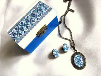 Set cadou culori albastru si bleu, cutiuta si bijuterii motive traditionale 28705