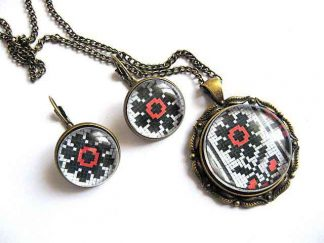 Set cu motive traditionale, culori rosu si negru, flori stilizate, model 28693