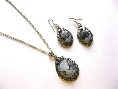 Set bijuterie cu camee, colier, pandantiv si cercei model cod 14188