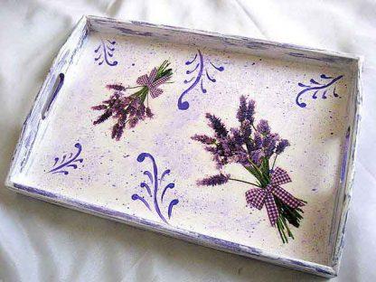 Tava masa lavanda - buchete flori lavanda model tava lemn 28640