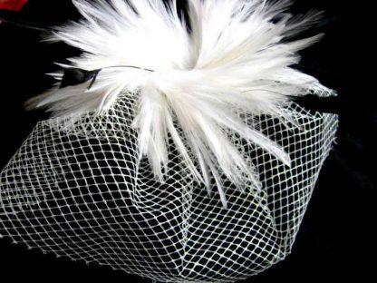 Voaleta mireasa, cu pene, accesoriu nunta cod produs 22764