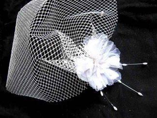 Voaleta organza, voaleta mireasa cu floare organza model 23340