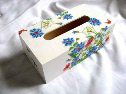 Albastrele, maci, flori de musetel si fluturi rosii, cutie servetele 28764