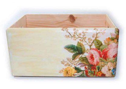 Aranjament floral culori pastelate pe ladita de lemn, ladita depozitare 7357 poza a 2a