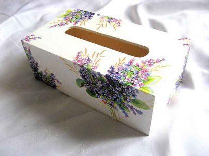 Buchet flori mov si violet, grau si frunze, cutie servetele hartie 28761.