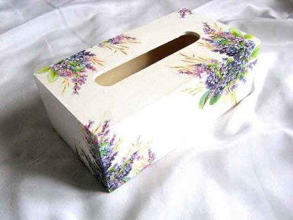 Buchet flori mov si violet, grau si frunze, cutie servetele hartie 28761 poza a 2a