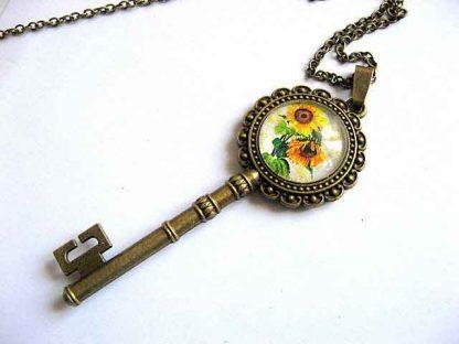 Cheie pandantiv floarea soarelui, colier cu pandantiv model 28747