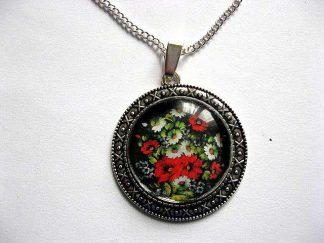 Colier si pandantiv cu motiv floral, flori viu colorate pe fundal inchis 28906