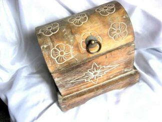 Cufar lemn brut, cufar din lemn decorat antic 11908.