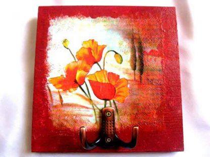 Cuier haine cu model de flori de maci si cu doi plopi in departare, 27814