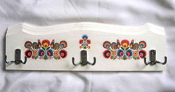 Cuier haine cu motive florale traditionale, cuier din lemn natural 26570