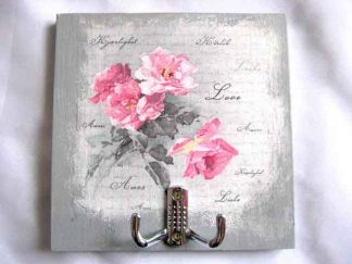 Cuier lemn manual, se pot agata doua haine, cu model de trandafiri roz 28098