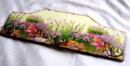 Cuier pentru mai multe haine, cuier lemn natur cu flori de lavanda 27634 poza a 2a
