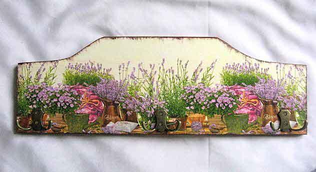 Cuier pentru mai multe haine, cuier lemn natur cu flori de lavanda 27634