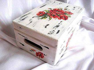 Cutie flori maci, cutie lemn cu design de flori de maci 23944.