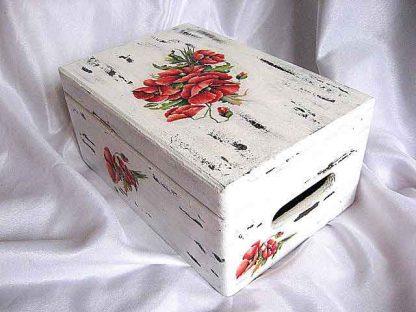 Cutie flori maci, cutie lemn cu design de flori de maci 23944 poza a 3a