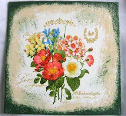 Flori campenesti culori pastelate pe fundal antichizat tablou panza 28856
