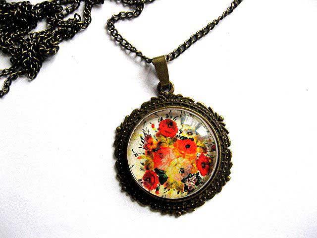Flori culori pastelate, bijuterie femei, colier si pandantiv 28911