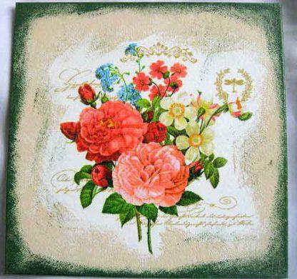 Flori, trandari, trandafiri japonezi, narcise, albastrele, tablou pe panza 28852