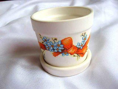 Ghiveci flori ieftin, ghiveci flori cu albastrele si funda portocalie 22614