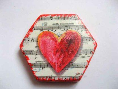 Inima pe portativ muzical - foarte indragostit - speranta - magnet frigider 23438.