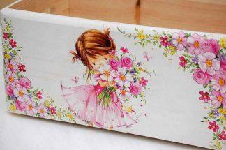 Lada cu fetita cu buchet de flori si ornamente florale model 8431