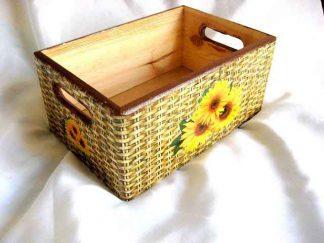 Ladita lemn model floarea soarelui pe fundal care imita rachita 27071