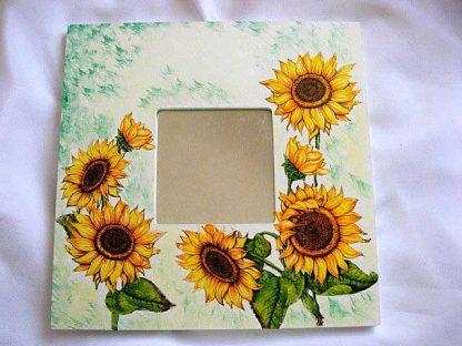 Oglinda cu model de floarea soarelui, oglinda lemn flori de vara 17342