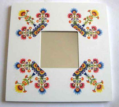 Oglinda de lemn decorata si pictata, oglinda motiv traditional 27148