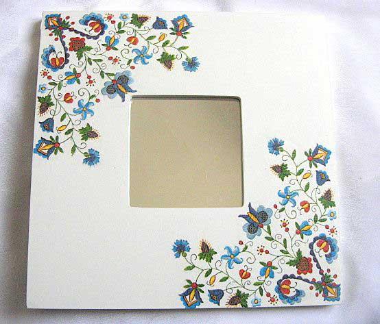 Oglinda lemn cu design elemente florale, oglinda decorata si pictata 26986