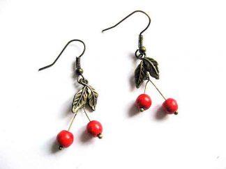 Pereche cercei cirese rosii, pietre semipretioase howlit 28805