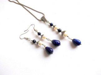 Set bijuterii lapis lazuli si perle naturale, pandantiv si cercei 38948