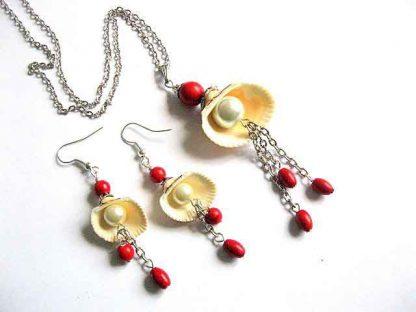 Set bijuterii scoici, perle si pietre semipretioase howlit rosu 28815