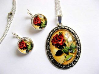 Set cu trandafiri rosii, bijuterii femei colier, pandantiv si cercei 28915