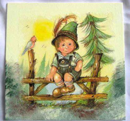 Tablou pe panza cu baietel in costum traditional german 28844