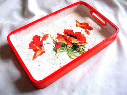 Tava lemn servire mic dejun dimineata, tava cu flori de maci model 28767