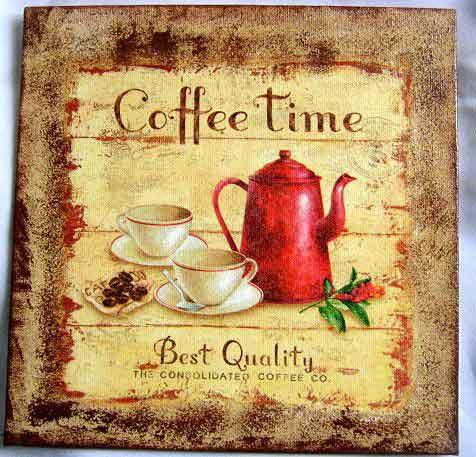 Timp pentru cafea, tablou pe panza cu ibric si set cesti cafea 28847