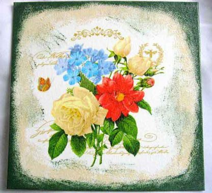 Trandafiri rosii si galbeni, albastrele si fluture, tablou pe panza 28851