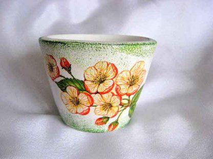 Vaza cu flori de cires, vaza ceramica cu fundal verde si alb 18744