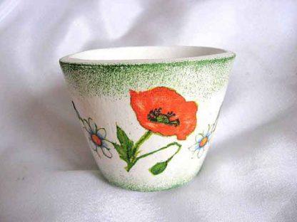 Vaza cu maci si alte flori, vaza ceramica cu fundal verde si alb 18748