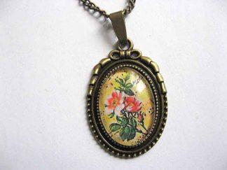 Bijuterie bronz, colier si pandantiv cu model floral, produs handmade 29061