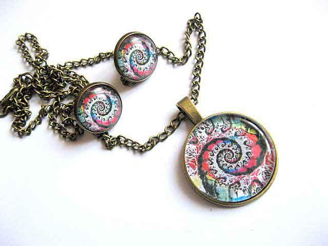 Bijuterii design spirala multicolora, pandantiv si cercei bronz 29154