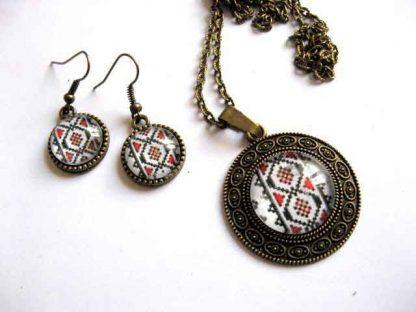 Bijuterii femei bronz, bijuterii motive traditionale pandantiv si cercei 29268